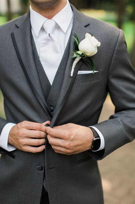 Wedding Groom Suit Tuxedo Grey Two Buttons Men Suits Slim