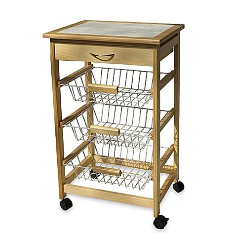 Kitchen Cart Rolling by Rolling Kitchen Cart With Three Baskets Bed Bath Beyond