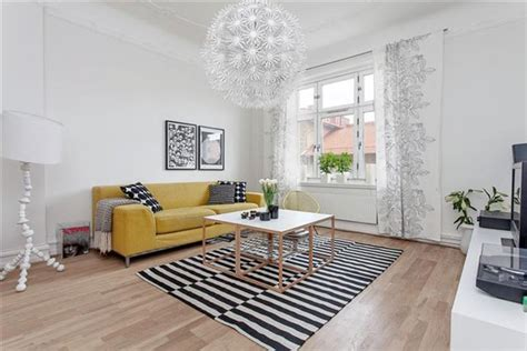 Striped Rug In Living Room : 35 Light And Stylish Scandinavian Living Room Designs