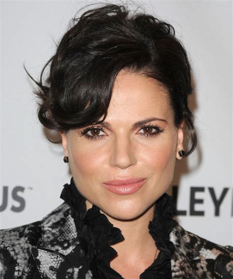 lana parrilla long curly black updo  side swept bangs