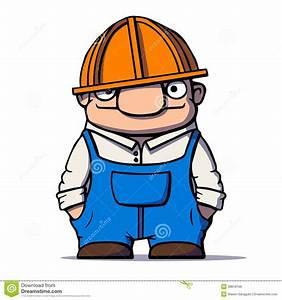 Funny Cartoon Worker, Builder, Plumber Vector
