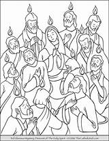 Coloring Pentecost Holy Spirit Sunday Descent Pages Apostles Depicts Decent Mary During Great sketch template