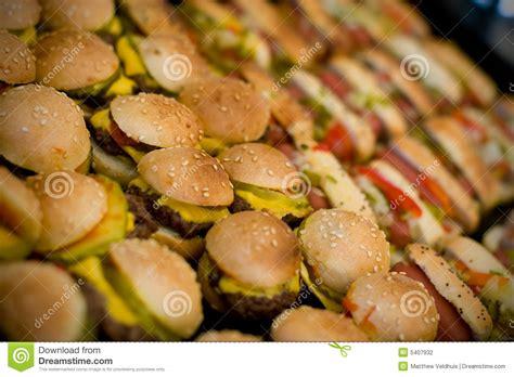 mini hamburgers  hotdogs stock photo image