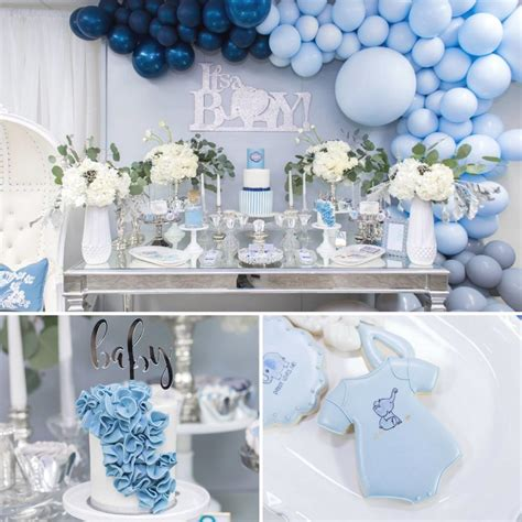 blue  silver elephant baby shower baby shower ideas