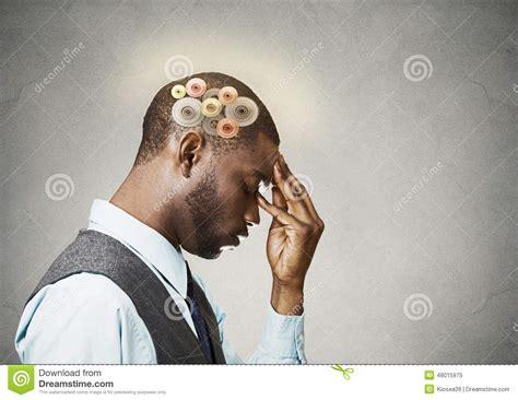 Man Thinking Hard Stock Photo
