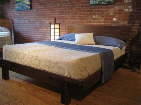Walnut Enso Bed Queen Size  Cool Bed Frames, Red Brick