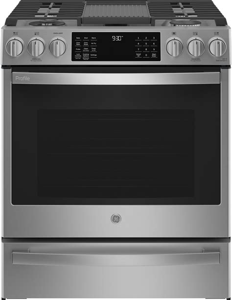 ge profile pgsypfs     gas range air fry convection  clean stainless steel