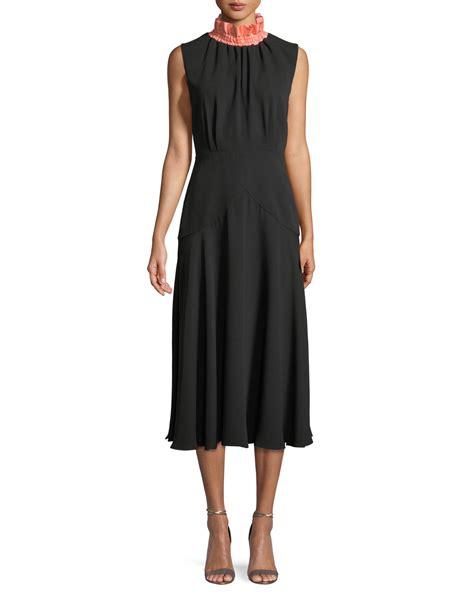 Mock Neck Embroidery A Line Dress roksanda sleeveless mock neck a line silk calf length
