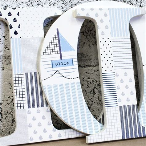 blue grey patchwork nautical letters  wooden letters company