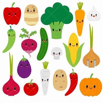 Clipart Vegetables Vegetable Veggies Kawaii Clipground Happy