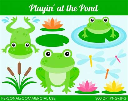 Pond Clipart Frog Fish Clip Animals Lily