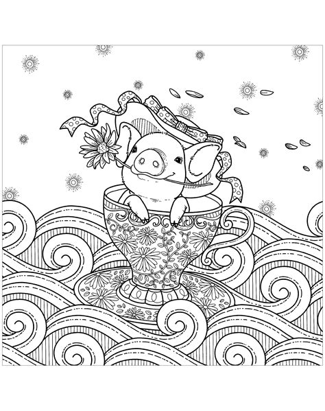 The Pig Coloring Pages Pig In A Cup Pigs Coloring Pages