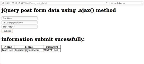 jquery ajax exle for submitting ajax forms in php
