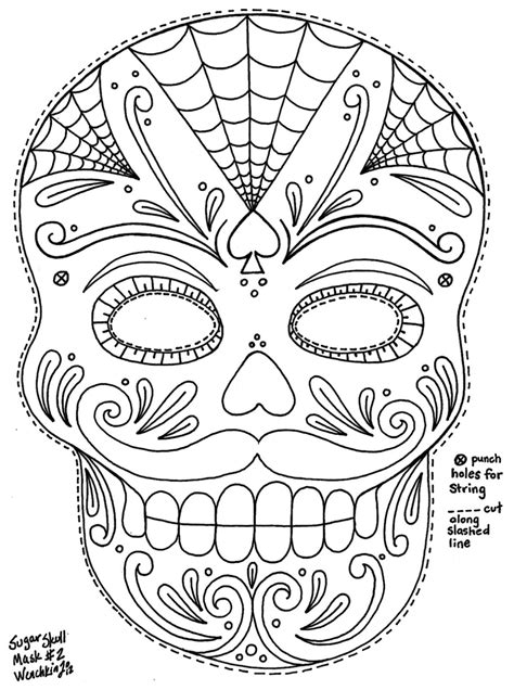 Yucca Flats, N.M.: Wenchkin's Coloring Pages - Moustached Sugar Skull Mask | Skull coloring