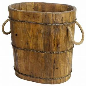 Natural, Altai, Tapered, Wooden, Bucket, -, Farmhouse, -, Decorative, Objects, And, Figurines