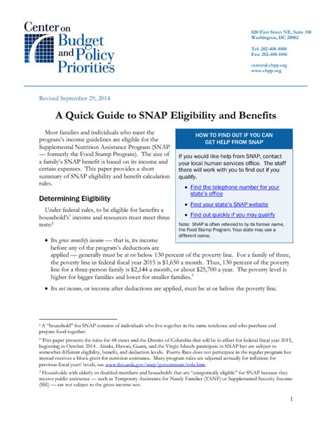a guide to snap eligibility and benefits center on 383 | file 10800