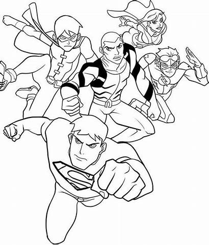 Justice Coloring League Young Pages Draw Printable