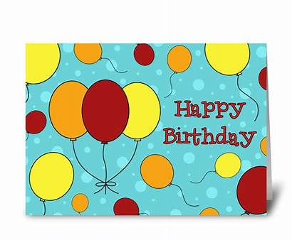 Birthday Happy Cards Colorful Balloons Send Card