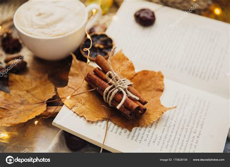 autumn cozy fall background hot coffee cup decorations