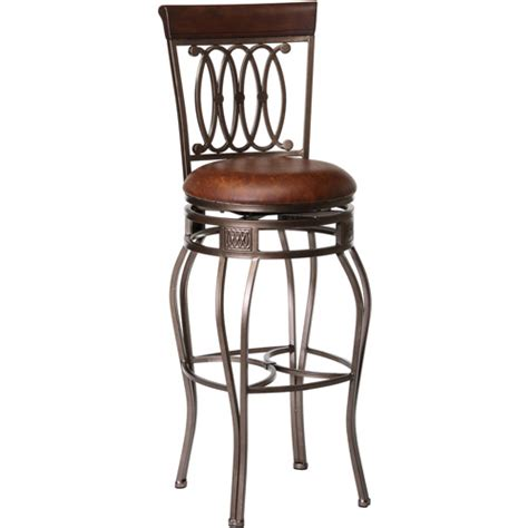 bar stools walmart hillsdale furniture montello 48 5 quot swivel bar stool old steel finish with brown faux leather