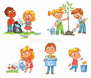 Ecological Kids Design Funny Cartoon Character Stock
