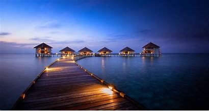 Maldives Beach Night Resort Wallpapers Summer Nature