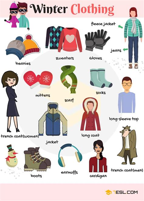 Winter Clothes And Accessories Vocabulary In English  7 E S L