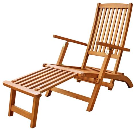 hardwood patio folding chair with foot rest