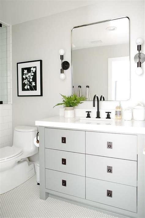 steel gray bath vanity  oil rubbed bronze pulls