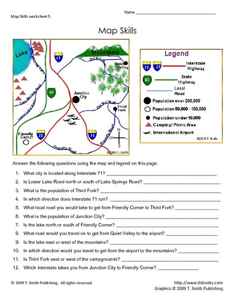 free map scale worksheets for 3rd grade free map skills