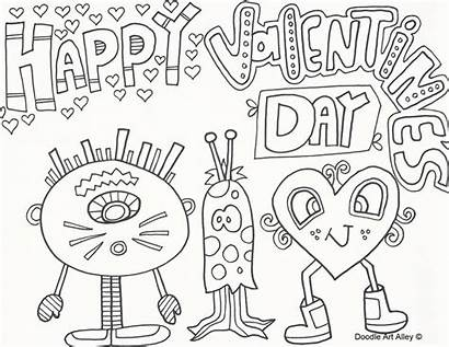 Valentines Coloring Valentine Pages Doodle Printable Alley