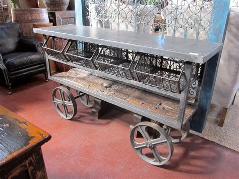Hand Made Industrial Iron Trolley Cart   Console Table by