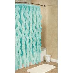 Brown And Aqua Shower Curtain by Cascade Ruffled Voile Shower Curtain