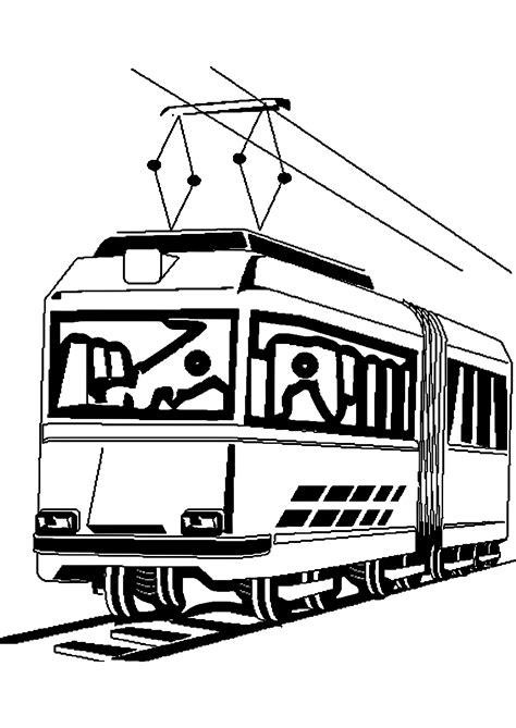 Tram Kleurplaat by Tramway 2 Transportation Printable Coloring Pages