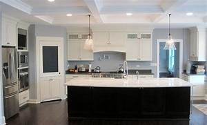 white shaker kitchen with glass top area dark island With kitchen colors with white cabinets with outdoor brand stickers
