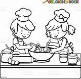 Coloring Cooking Kitchen Children Outline Vector Boy Illustration Pages Baking Clip Clipart Shutterstock Bakery Apron Drawings Illustrations Drawing Line Eps sketch template