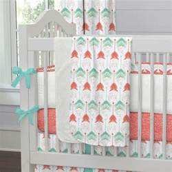 coral and teal arrow crib bedding carousel designs