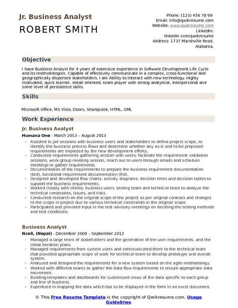Junior Business Analyst Resume by Sle Cv For Junior Business Analyst Capita It