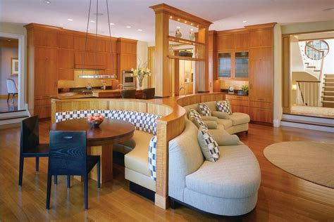 sided banquette anchors  kitchen breakfast area
