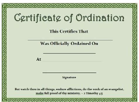 printable certificate certificate  ordination