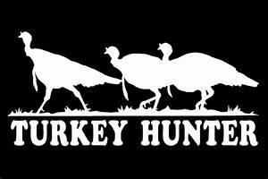 Turkey Hunter Decal three wild turkeys car truck vinyl