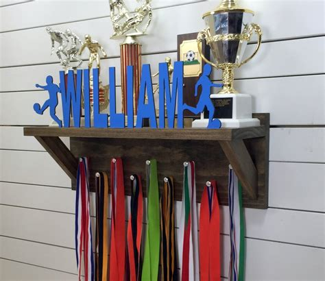 personalized trophy shelf medal holder pinecone home