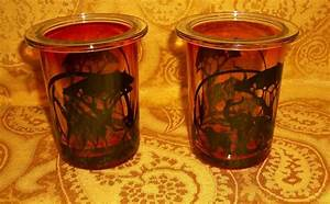 Set of 2 PartyLite Savannah Giraffe Elephant Votive Candle