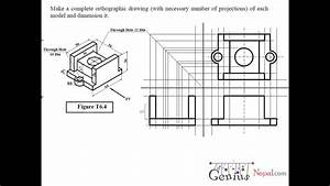 Engineering Drawing Tutorials  Orthographic Drawing 2 With Front View  U0026 Side View  T 6 4