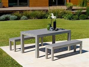 Table De Jardin Grise : ensemble campagne table et bancs gris laqu s rus salon ~ Dailycaller-alerts.com Idées de Décoration