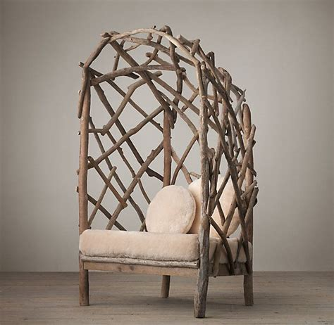 okay this is awesome driftwood chair with shearling
