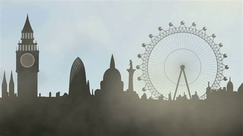 animated cartoon fog  london city motion background
