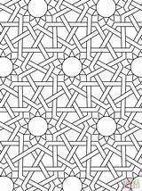 Islamic Coloring Patterns Geometric Getdrawings sketch template