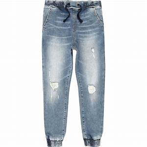 Boys blue Ryan distressed denim jogger jeans - Slouch Tapered Jeans - Jeans - boys