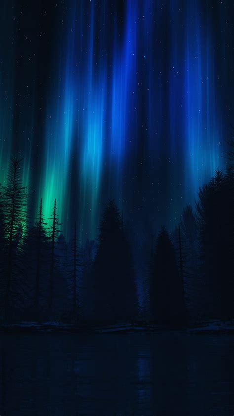ao aurora night sky dark blue nature art papersco